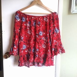 Faded glory womens large floral red blouse